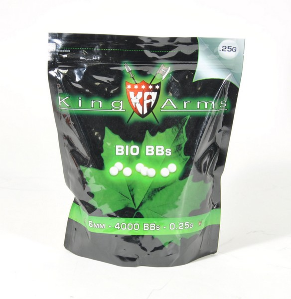 1 Kg Billes Airsoft Bio 0.25 g blanches King Arms