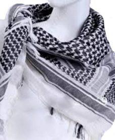 Echarpe Shemagh chèche militaire blanche et noire