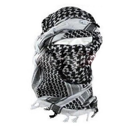Echarpe Shemagh chèche militaire blanche et noire   Blowback.fr cb6e844080e
