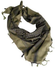Echarpe Shemagh chèche militaire verte et noire