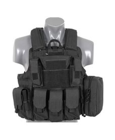 Gilet tactique noir Airsoft DUKE Multipoches