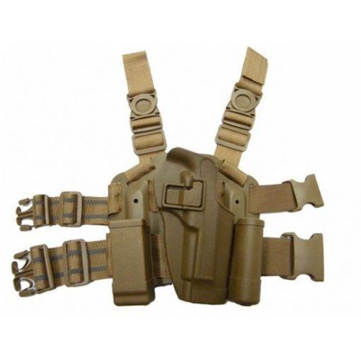Holster cuisse M92 Beretta tan Airsoft CQC rigide