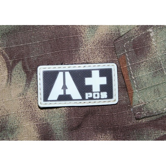 Patch militaire Airsoft Groupe Sanguin A+ noir gris