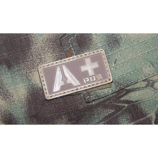Patch militaire Airsoft Groupe Sanguin A+ tan