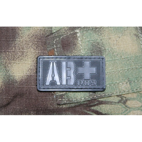 Patch militaire Airsoft Groupe Sanguin AB+ noir