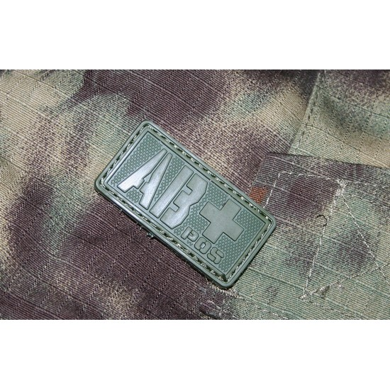 Patch militaire Airsoft Groupe Sanguin AB+ olive