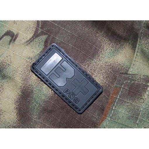 Patch militaire Airsoft Groupe Sanguin B+ noir