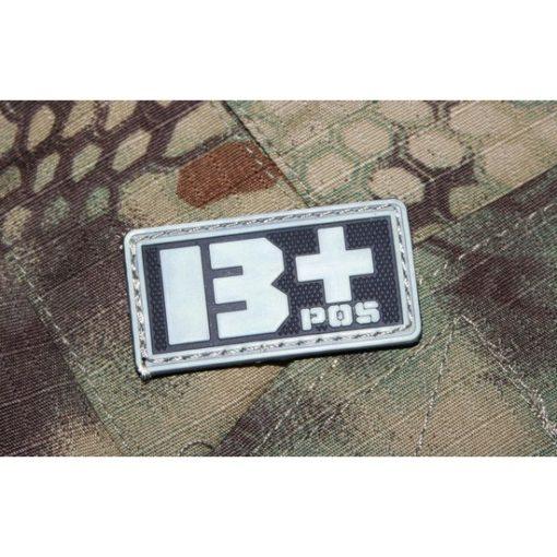 Patch militaire Airsoft Groupe Sanguin B+ noir gris