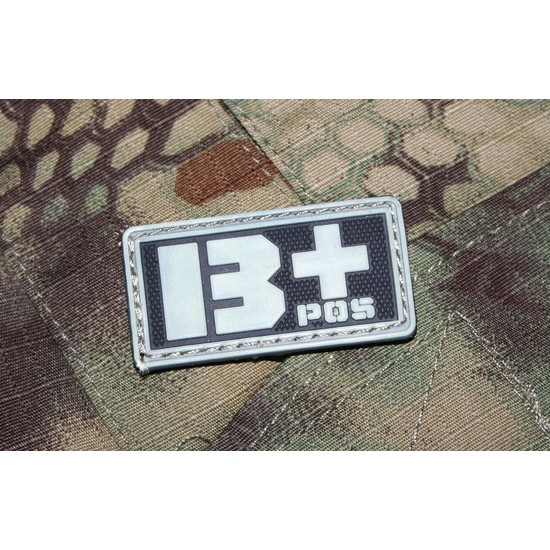 Patch militaire Airsoft Groupe Sanguin B+ noir gris