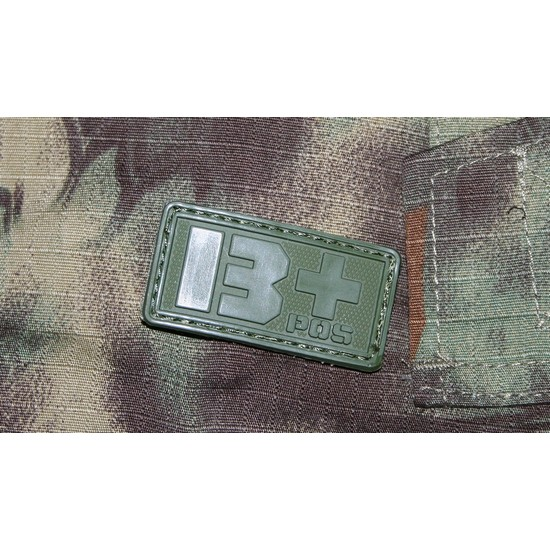 Patch militaire Airsoft Groupe Sanguin B+ olive