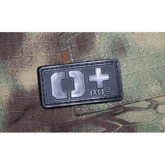 Patch militaire Airsoft Groupe Sanguin O+ noir