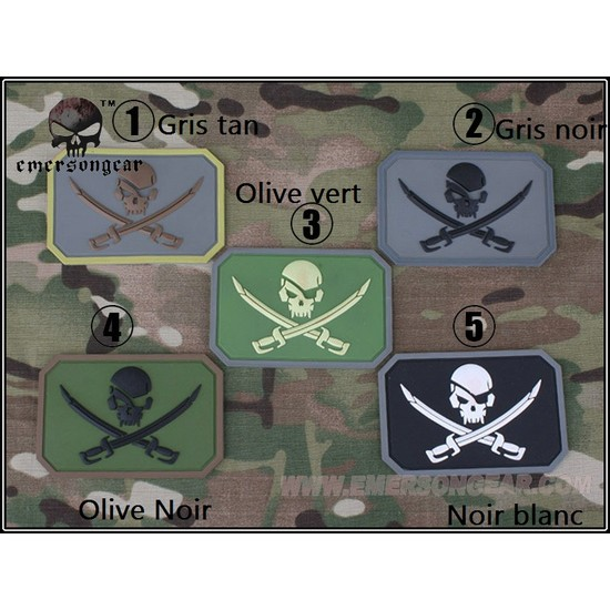 Patch militaire Airsoft Pirate gris noir