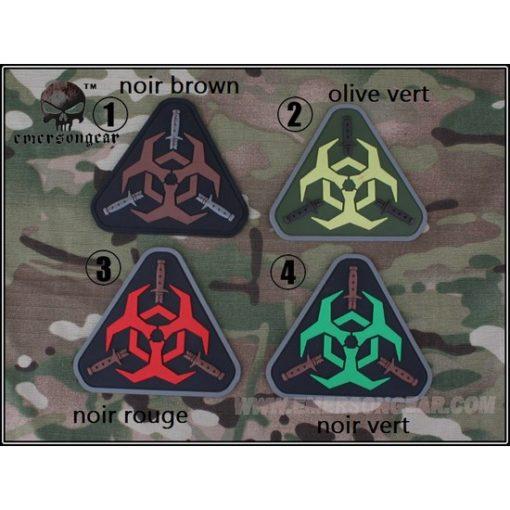 Patch militaire Airsoft Zombie noir rouge