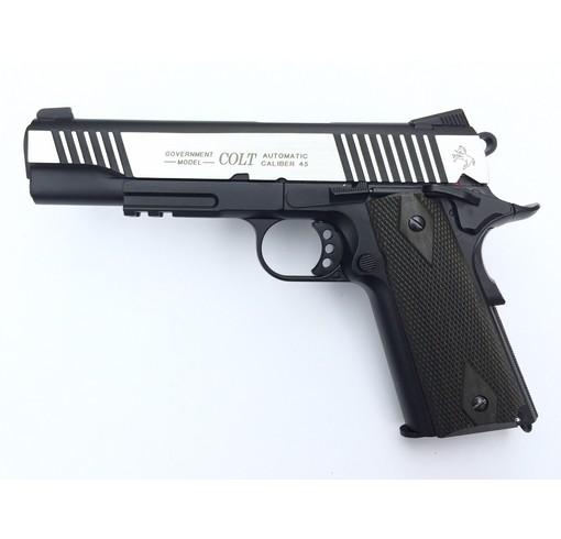 Colt 1911 rail gun bicolore culasse metal Blowback CO2 KWC