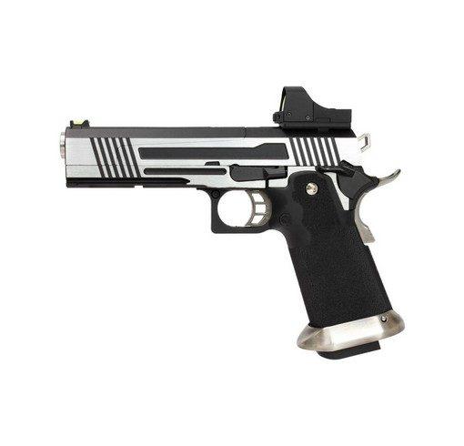 Pistolet Armorer Works Hicapa 5.1 Full slide + red dot-argenté GBB