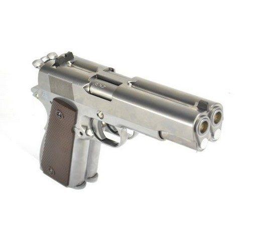 Pistolet Dueller 1911 double canon argenté GBB WE