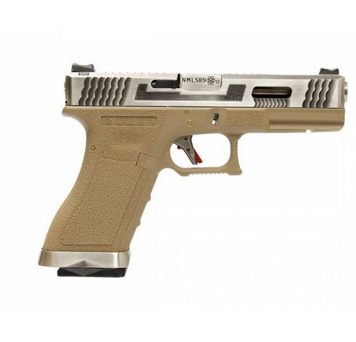 Pistolet G17 Gforce T8 argenté tan GBB WE