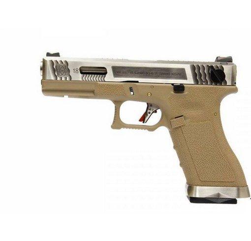 Pistolet G18C Gforce T8 argenté tan GBB WE
