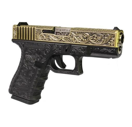 Pistolet G19 Classic floral pattern ivoire GBB WE