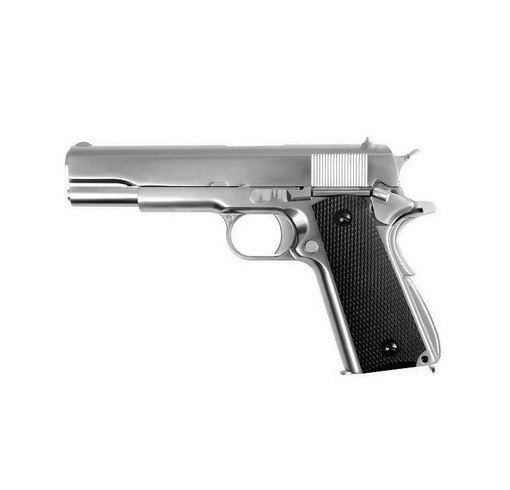 Pistolet M1911 chrome matte crosse noir GGB WE