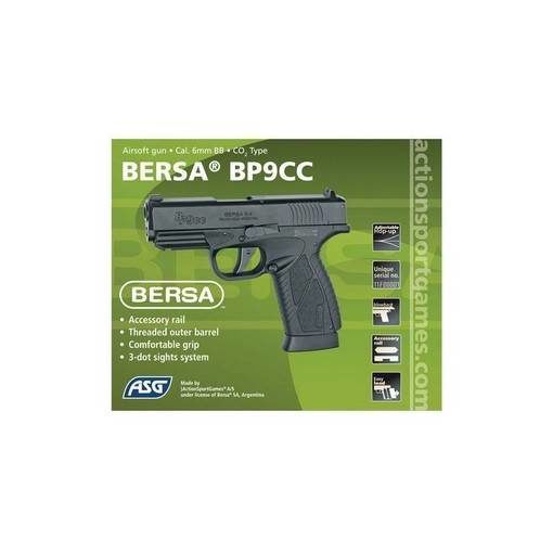 Bersa BP9CC Airsoft culasse métal CO2 GBB