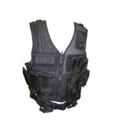 Veste tactique Airsoft Noire 8 poches holster + ceinturon