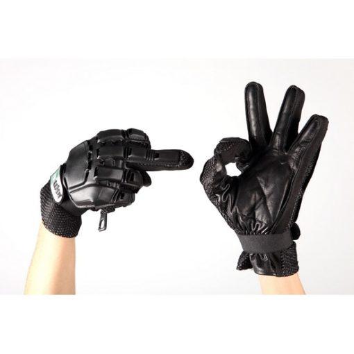 gants tactiques airsoft-cuir noir coque