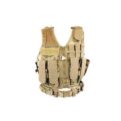 Veste tactique ARID-Woodland 8 poches Holster
