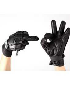 Gants Cuir airsoft coque noire taille S