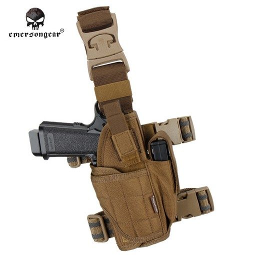 Holster cuisse Airsoft Tan + porte chargeur + poche