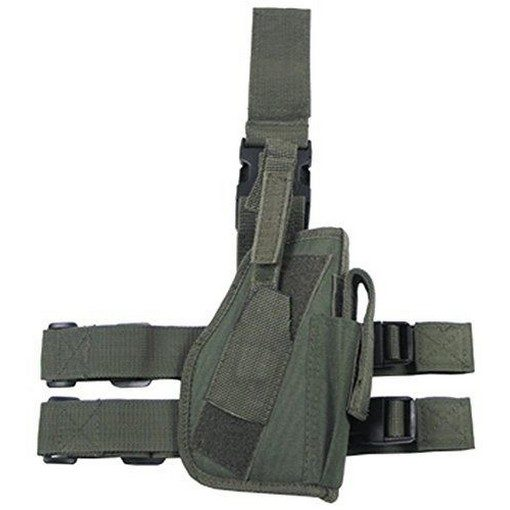 Holster cuisse Airsoft vert + porte chargeur + poche