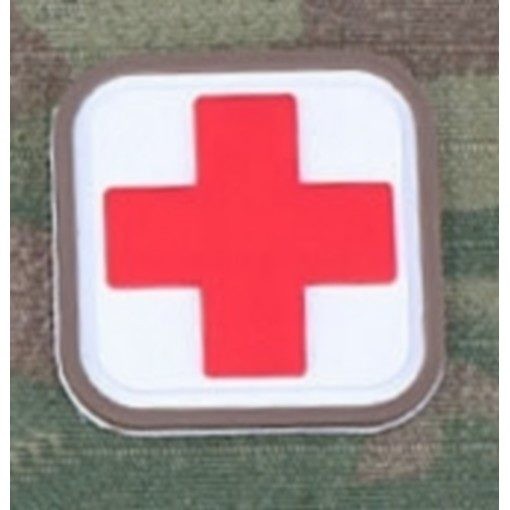 Patch Medic Square PVC Velcro Blanc Rouge