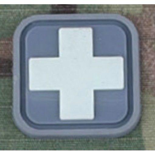 Patch Medic Square PVC Velcro Gris Blanc