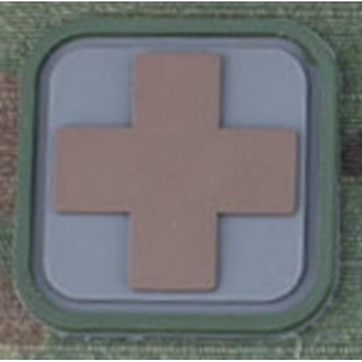 Patch airsoft medic Square PVC Velcro gris Tan