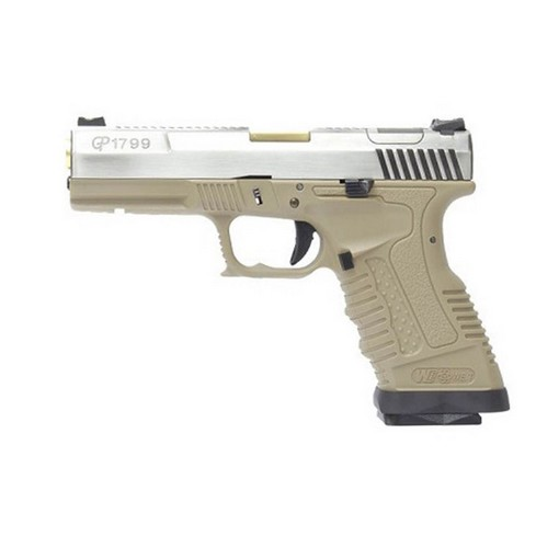 Pistolet GP1799 T4 WE Silver/Or/Tan GBB