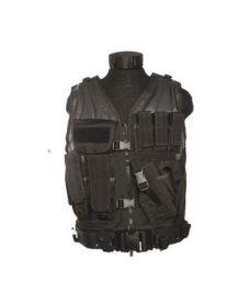 Veste tactique Noire 8 poches holster+ceinturon